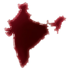 A pool of blood (or wine) that formed the shape of India. (serie