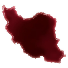 A pool of blood (or wine) that formed the shape of Iran. (series