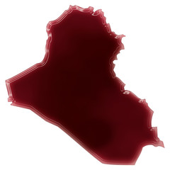 A pool of blood (or wine) that formed the shape of Iraq. (series