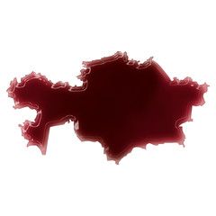 A pool of blood (or wine) that formed the shape of Kazahkstan. (