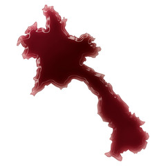 A pool of blood (or wine) that formed the shape of Laos. (series