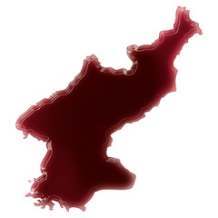 A pool of blood (or wine) that formed the shape of North Korea.