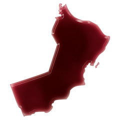 A pool of blood (or wine) that formed the shape of Oman. (series