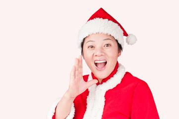 Christmas Oriental woman gestures