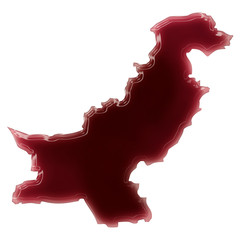 A pool of blood (or wine) that formed the shape of Pakistan. (se