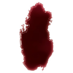 A pool of blood (or wine) that formed the shape of Qatar. (serie