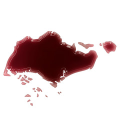 A pool of blood (or wine) that formed the shape of Singapore. (s