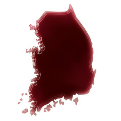 A pool of blood (or wine) that formed the shape of South Korea.