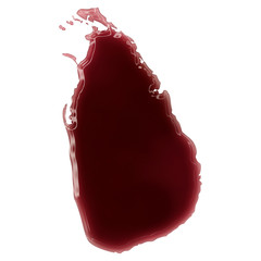A pool of blood (or wine) that formed the shape of Sri Lanka. (s