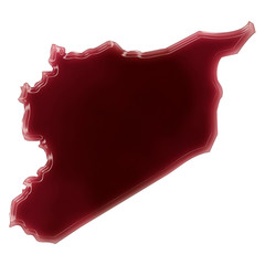 A pool of blood (or wine) that formed the shape of Syria. (serie