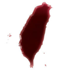 A pool of blood (or wine) that formed the shape of Taiwan. (seri
