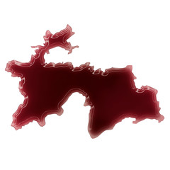 A pool of blood (or wine) that formed the shape of Tajikistan. (
