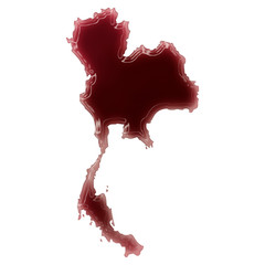 A pool of blood (or wine) that formed the shape of Thailand. (se