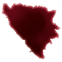 A pool of blood (or wine) that formed the shape of Bosnia and He