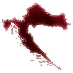 A pool of blood (or wine) that formed the shape of Croatia. (ser