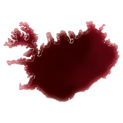 A pool of blood (or wine) that formed the shape of Iceland. (ser