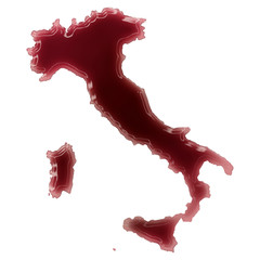 A pool of blood (or wine) that formed the shape of Italy. (serie