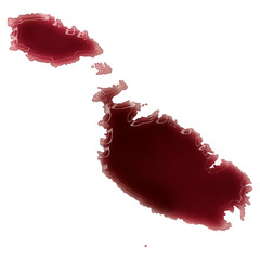 A pool of blood (or wine) that formed the shape of Malta. (serie