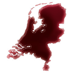 A pool of blood (or wine) that formed the shape of Netherlands.