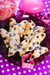 puff pastry cookies with blueberry in butterfly shape