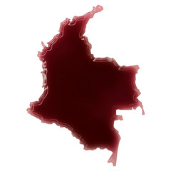 A pool of blood (or wine) that formed the shape of Colombia. (se