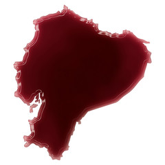 A pool of blood (or wine) that formed the shape of Ecuador. (ser