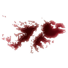 A pool of blood (or wine) that formed the shape of Falkland Isla