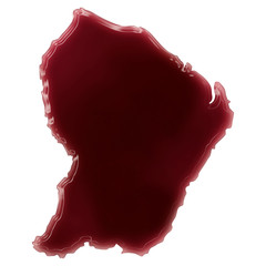 A pool of blood (or wine) that formed the shape of French Guiana