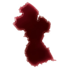 A pool of blood (or wine) that formed the shape of Guyana. (seri