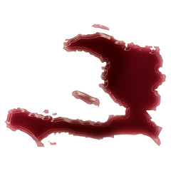 A pool of blood (or wine) that formed the shape of Haiti. (serie