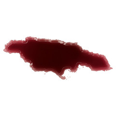 A pool of blood (or wine) that formed the shape of Jamaica. (ser