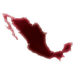 A pool of blood (or wine) that formed the shape of Mexico. (seri