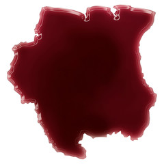 A pool of blood (or wine) that formed the shape of Suriname. (se