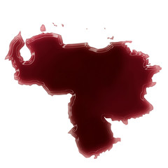A pool of blood (or wine) that formed the shape of Venezuela. (s