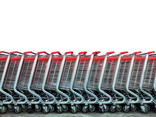 Group of market carts isolated on white - Shopping concept