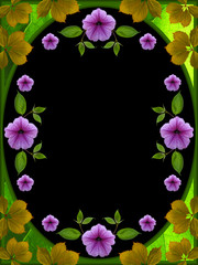 floral frame on black background