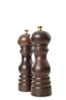 Wooden salt and pepper shakers on white background