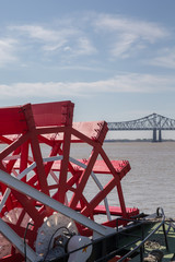 New Orleans - Paddlewheel, River, and Bridge
