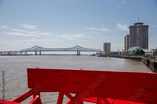 Papiers peints Riviere New Orleans - Paddlewheel, Bridge and Buildings