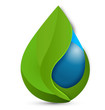 Water drop green leafs. Ecology concept logo vector - 67178103
