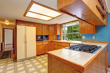 Kitchen room with skylight