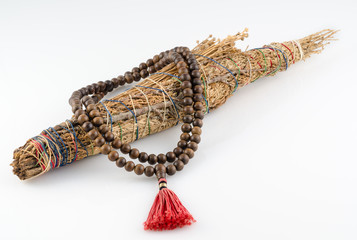 Buddhist Mala Prayer Beads with Pueblo Indian Smudge stick.