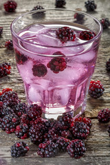 Ice beverage of the freshly picked blackberries from the garden