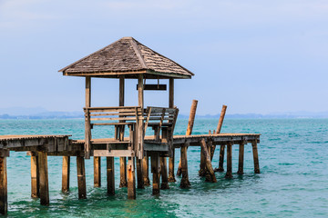 Gazebo and wood jatty in Samet Island ,Thailand