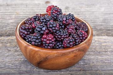 Organic home grown freshly picked blackberries from the garden