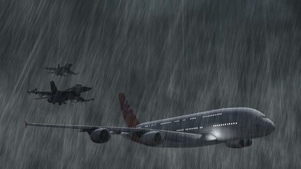 Airbus A380 escorted by F-16 fighter jets in storm and rain