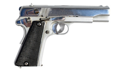 Silver gun isolated on white