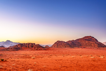 Twilight in Wadi Rum, Jordan at early-morning.