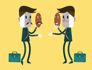 Fake businessmen wearing smile mask. vector
