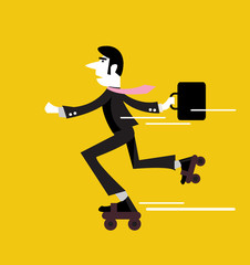 Businessman roller skating with briefcase. vector